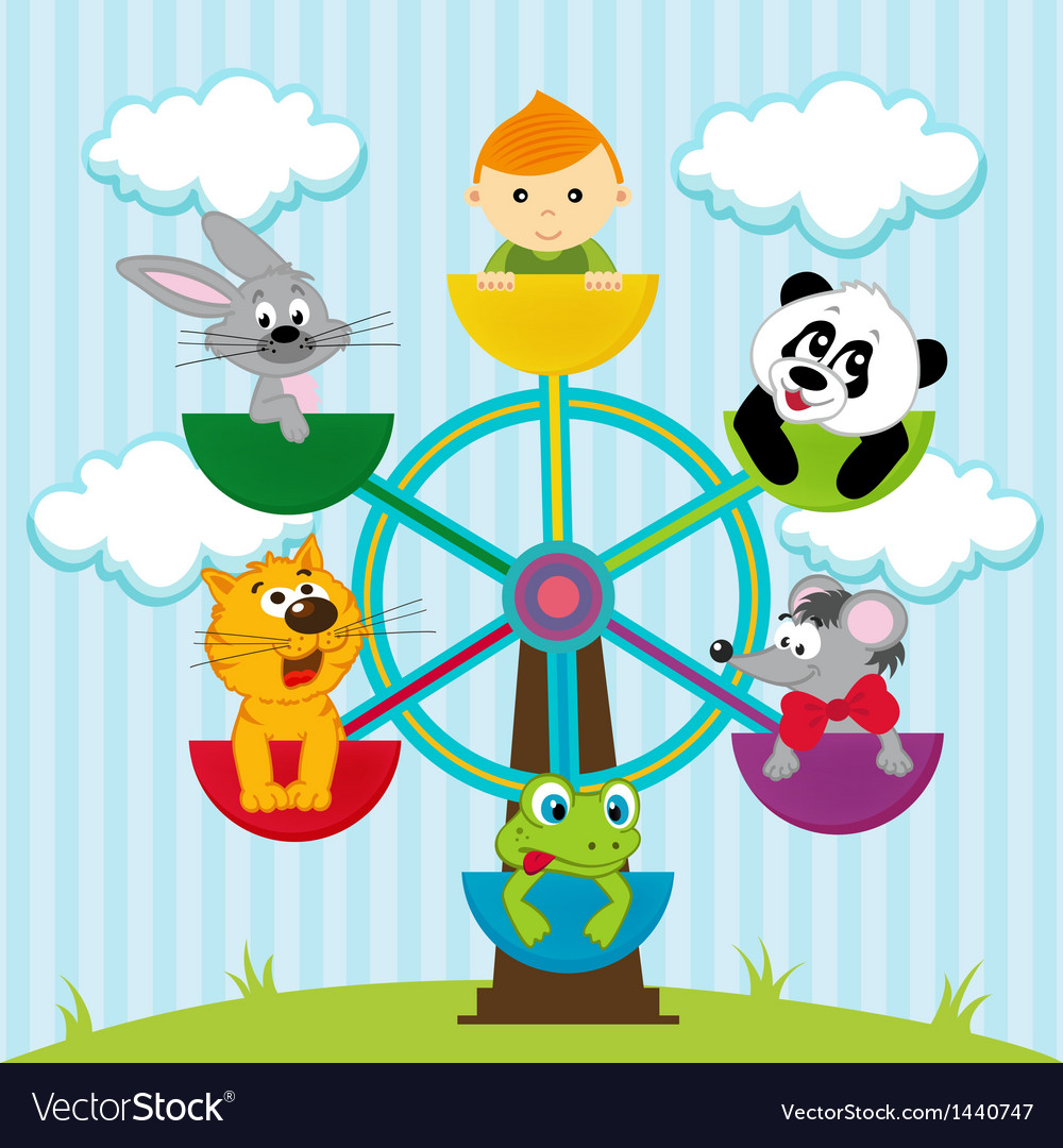 Carousel with the boy and animals vector | Price: 3 Credit (USD $3)