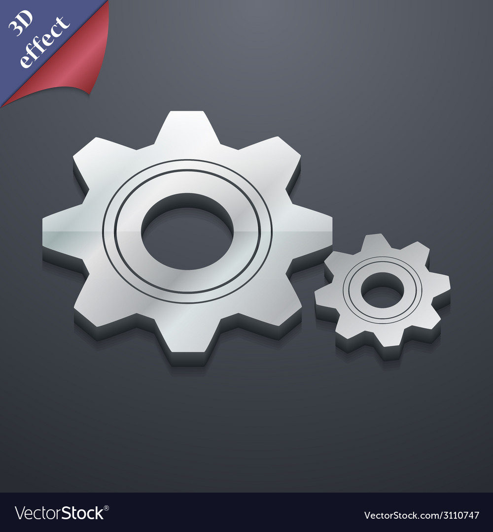 Cog settings icon symbol 3d style trendy modern vector | Price: 1 Credit (USD $1)