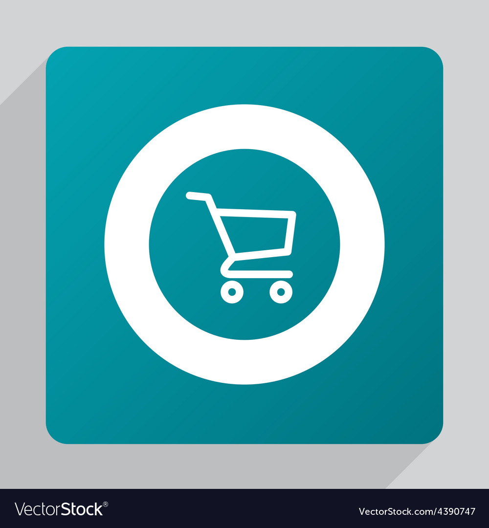 Flat shopping cart icon vector