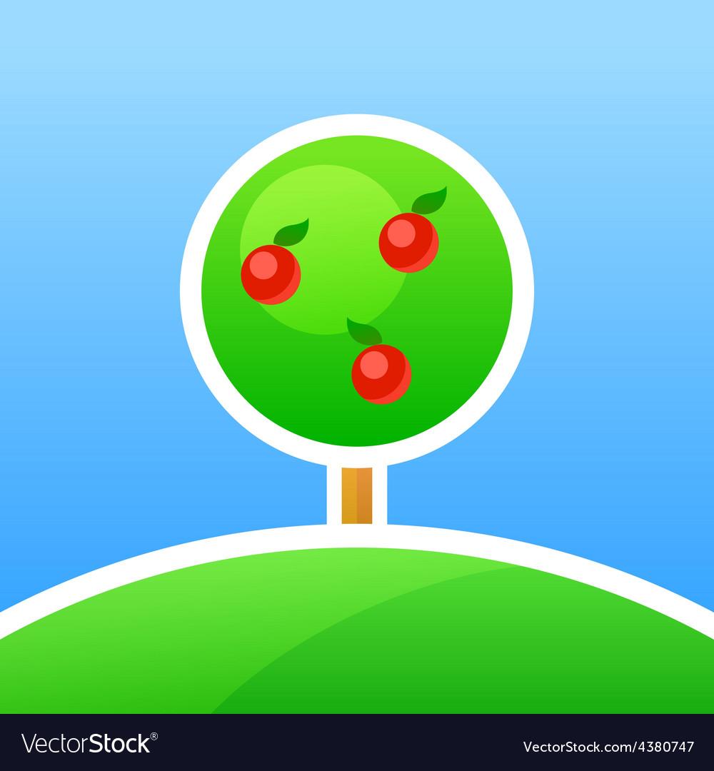 Garden with apples vector   Price: 1 Credit (USD $1)