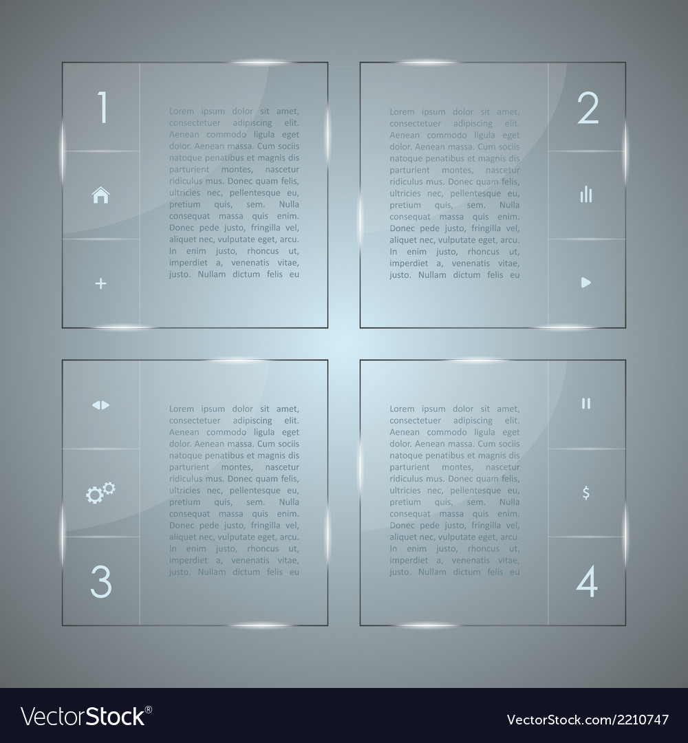 Glass infographic transparent glass plates vector | Price: 1 Credit (USD $1)