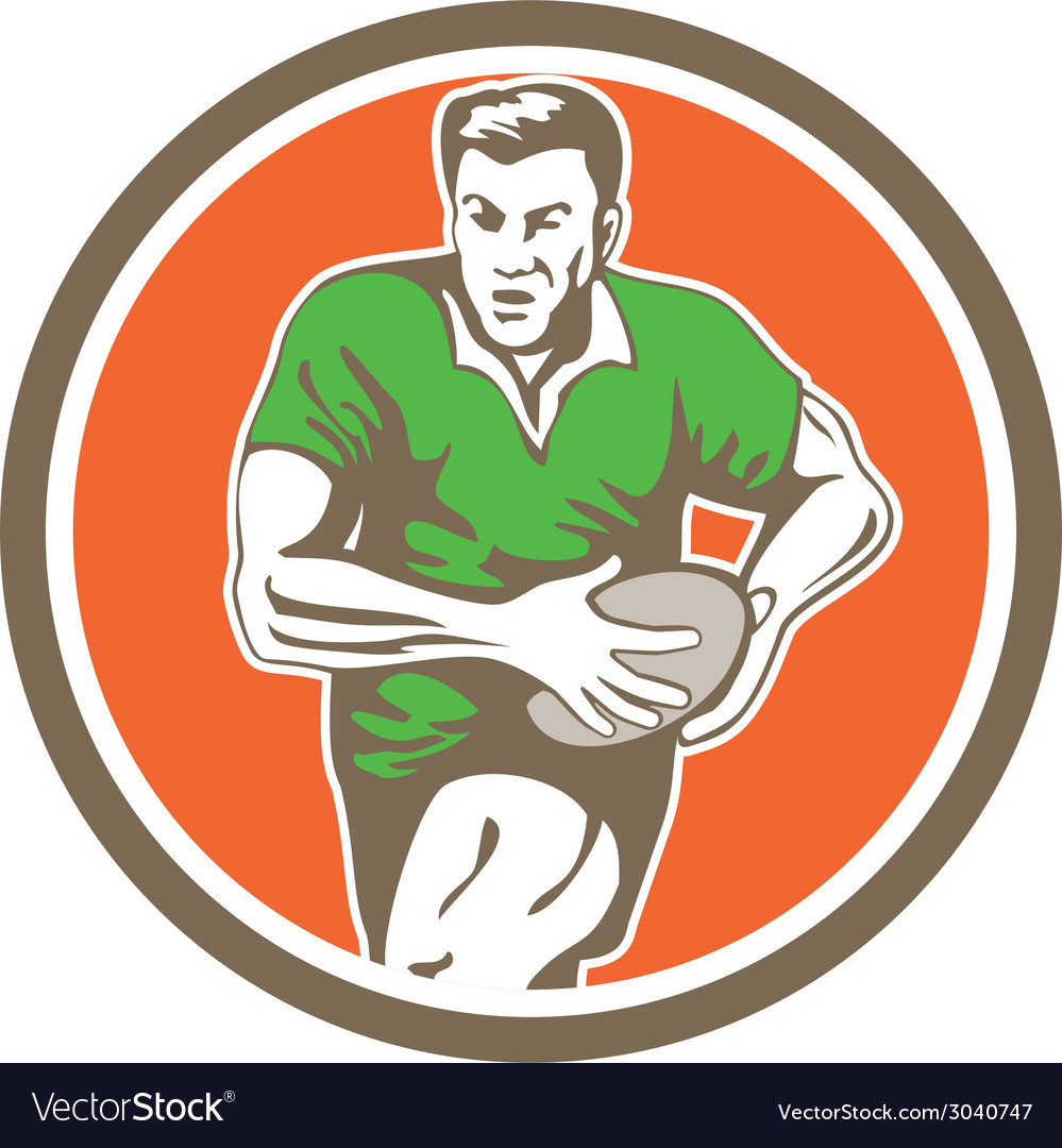 Rugby player running ball circle retro vector | Price: 1 Credit (USD $1)