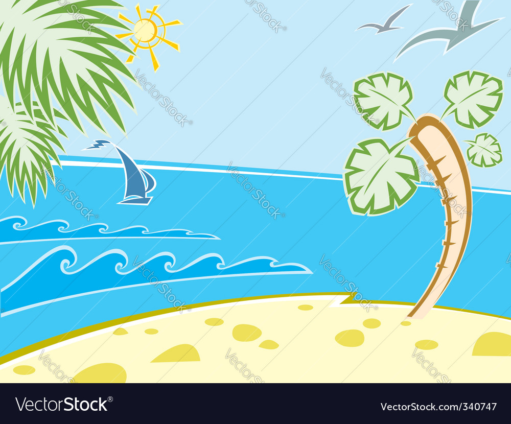Seascape beach vector | Price: 1 Credit (USD $1)