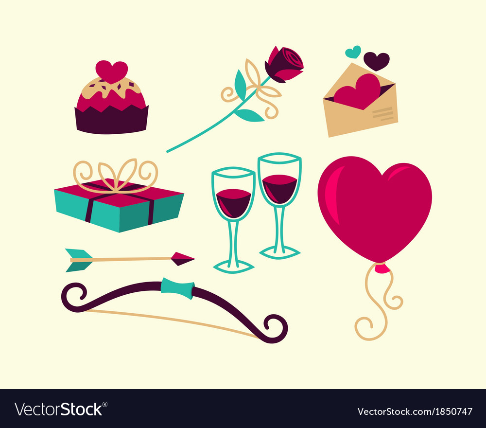 Valentines day things vector | Price: 1 Credit (USD $1)