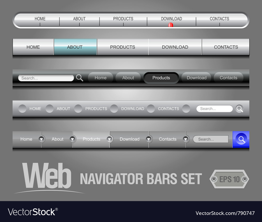 Web elements navigation bar set vector | Price: 1 Credit (USD $1)