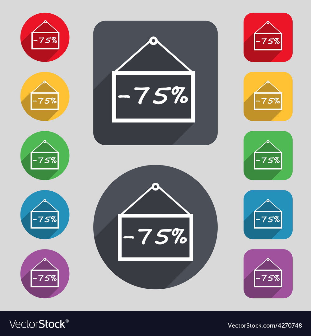 75 discount icon sign a set of 12 colored buttons vector | Price: 1 Credit (USD $1)