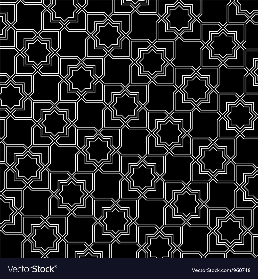 Black and white arabic pattern vector | Price: 1 Credit (USD $1)