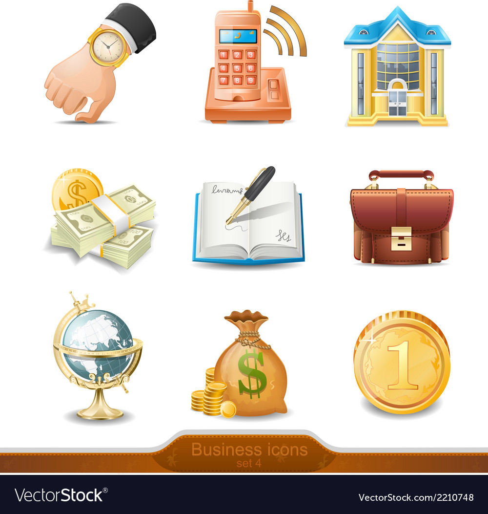 Business icons set 4 vector | Price: 1 Credit (USD $1)