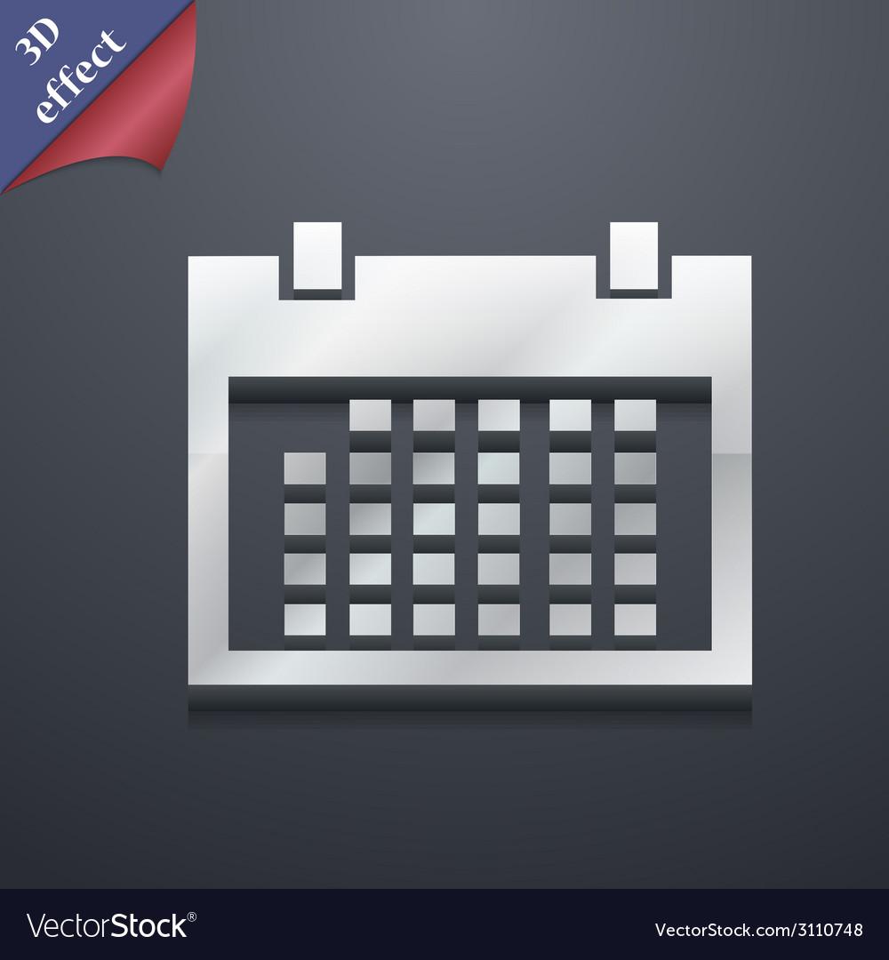 Calendar icon symbol 3d style trendy modern design vector | Price: 1 Credit (USD $1)