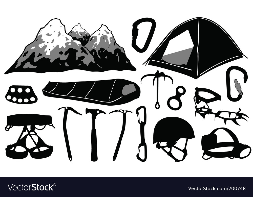 Climbing equipment collage vector | Price: 1 Credit (USD $1)