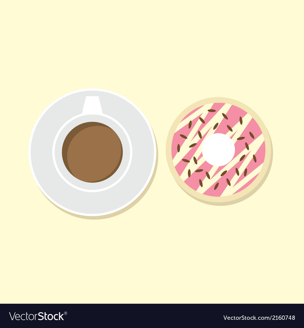 Donut and hot coffee vector | Price: 1 Credit (USD $1)