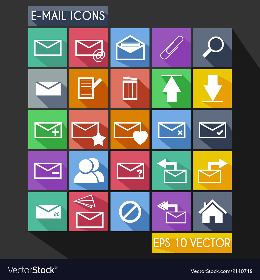 Email flat icon long shadow vector | Price: 1 Credit (USD $1)