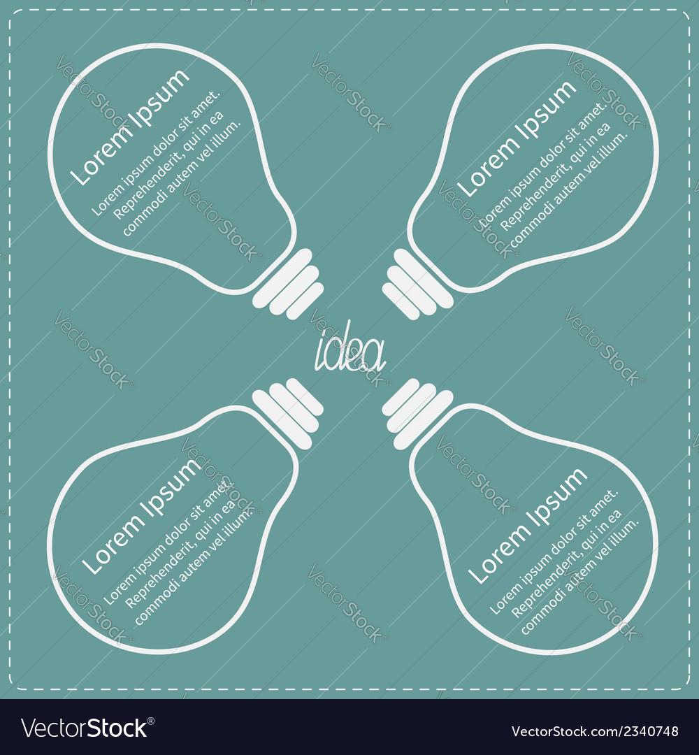 Four big light bulb idea concept business vector | Price: 1 Credit (USD $1)