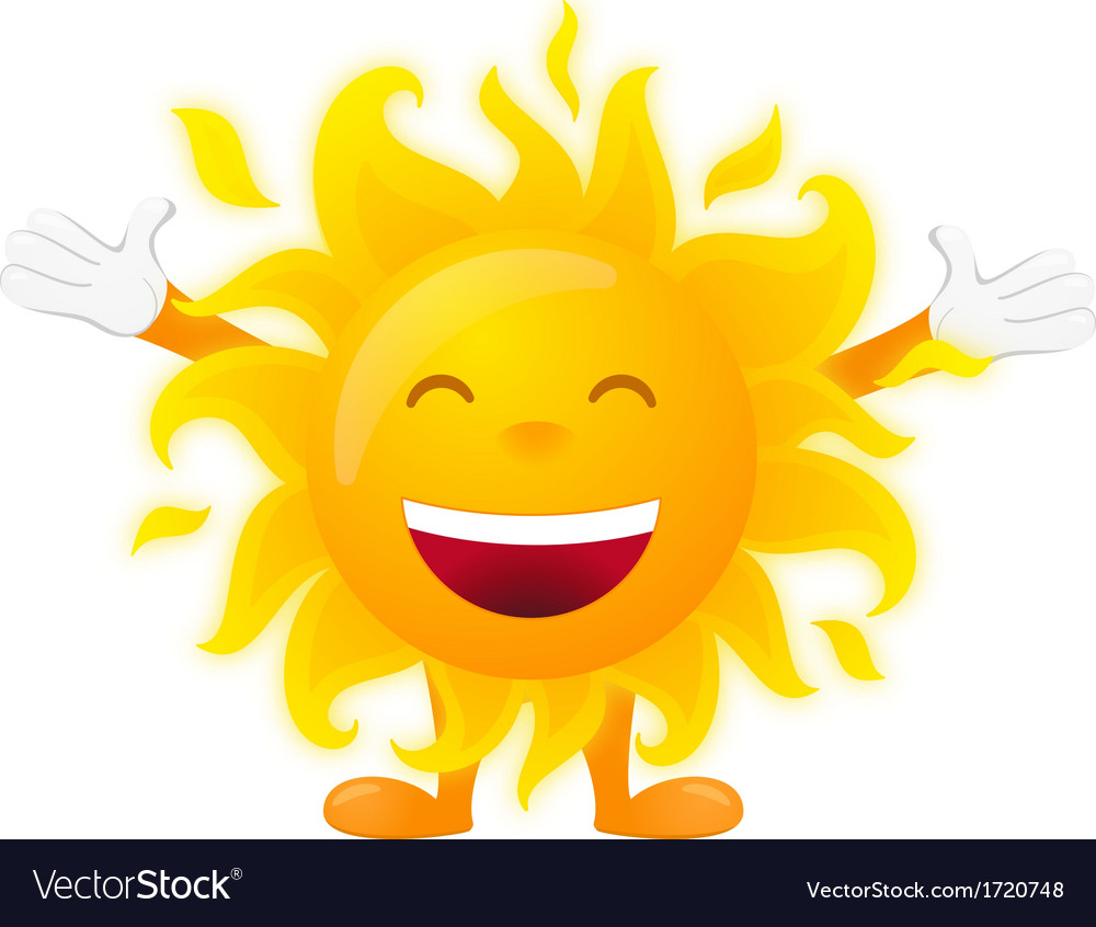 Happy sunny character isolated on white background vector | Price: 1 Credit (USD $1)
