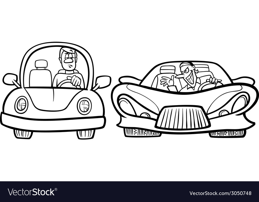 Malicious driver cartoon coloring page vector | Price: 1 Credit (USD $1)