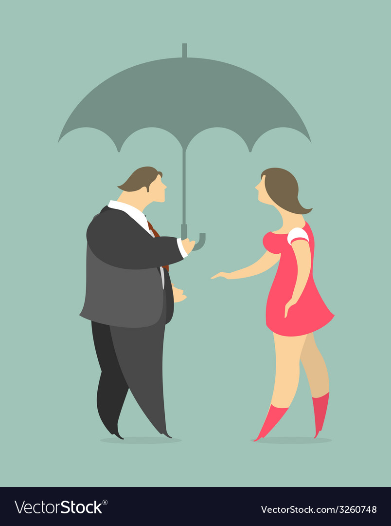 Man and woman under an umbrella vector | Price: 1 Credit (USD $1)