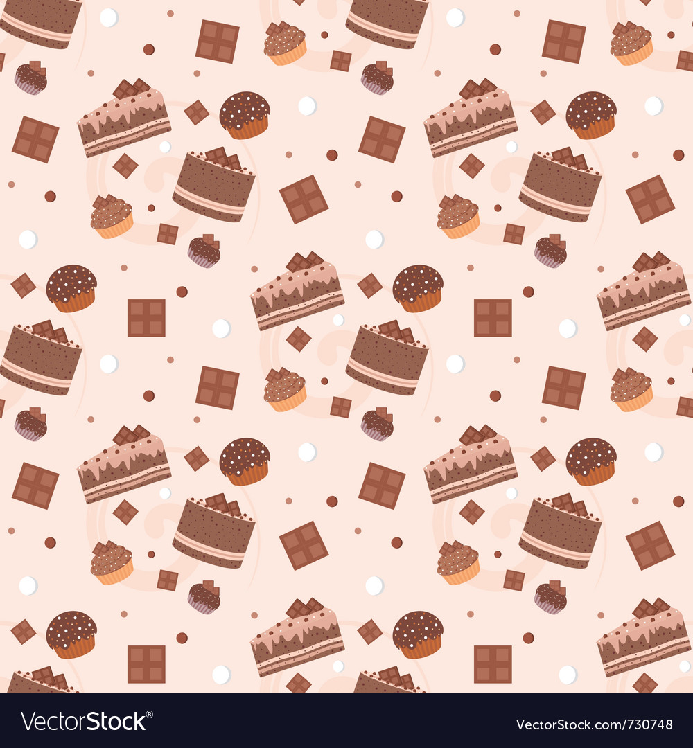 Seamless chocolate cakes pattern vector