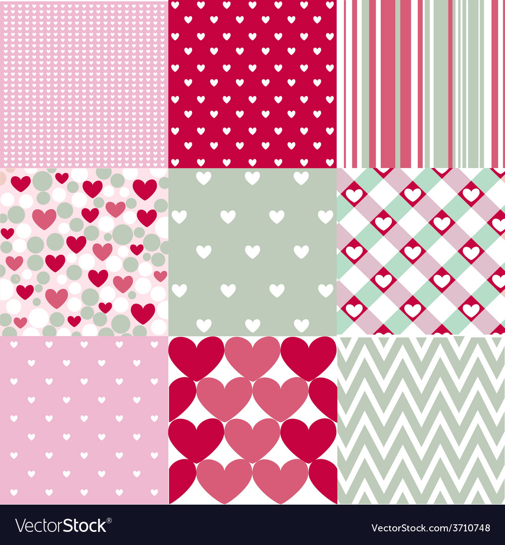 Seamless patterns valentines day vector | Price: 1 Credit (USD $1)