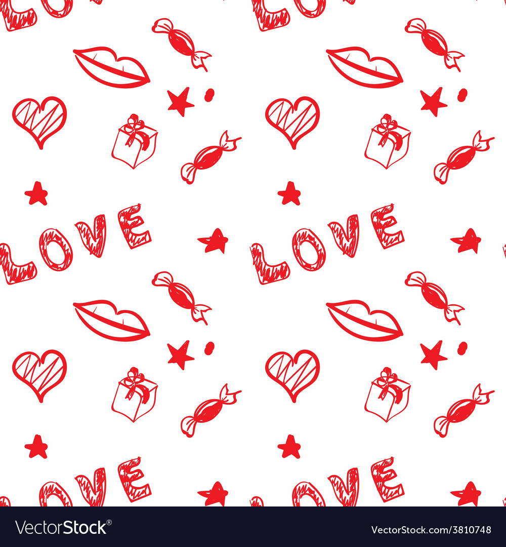 Valentine day red seamless background vector | Price: 1 Credit (USD $1)