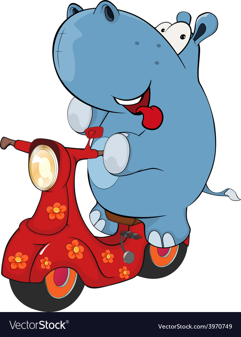A little hippopotamus and a red motor scooter vector   Price: 1 Credit (USD $1)