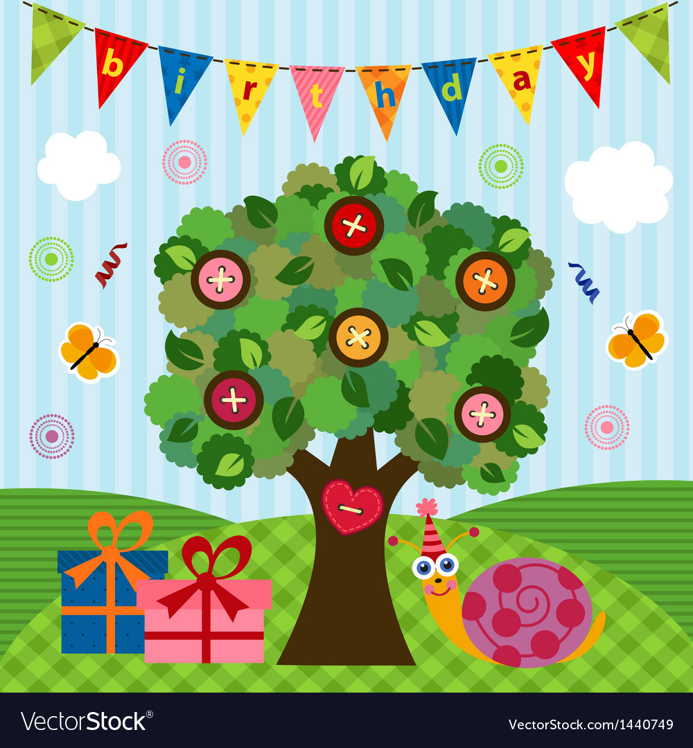 Birthday snail under the tree vector | Price: 3 Credit (USD $3)