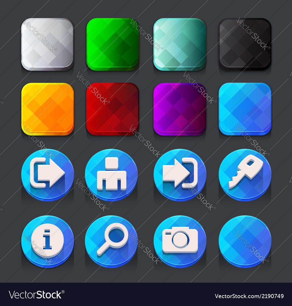Blue web icons collection vector | Price: 1 Credit (USD $1)