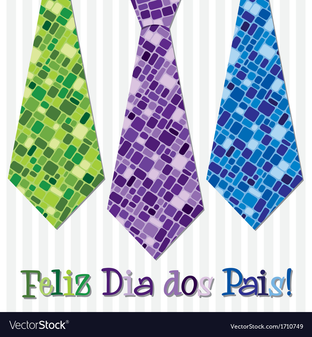 Bright mosaic portuguese happy fathers day neck vector   Price: 1 Credit (USD $1)