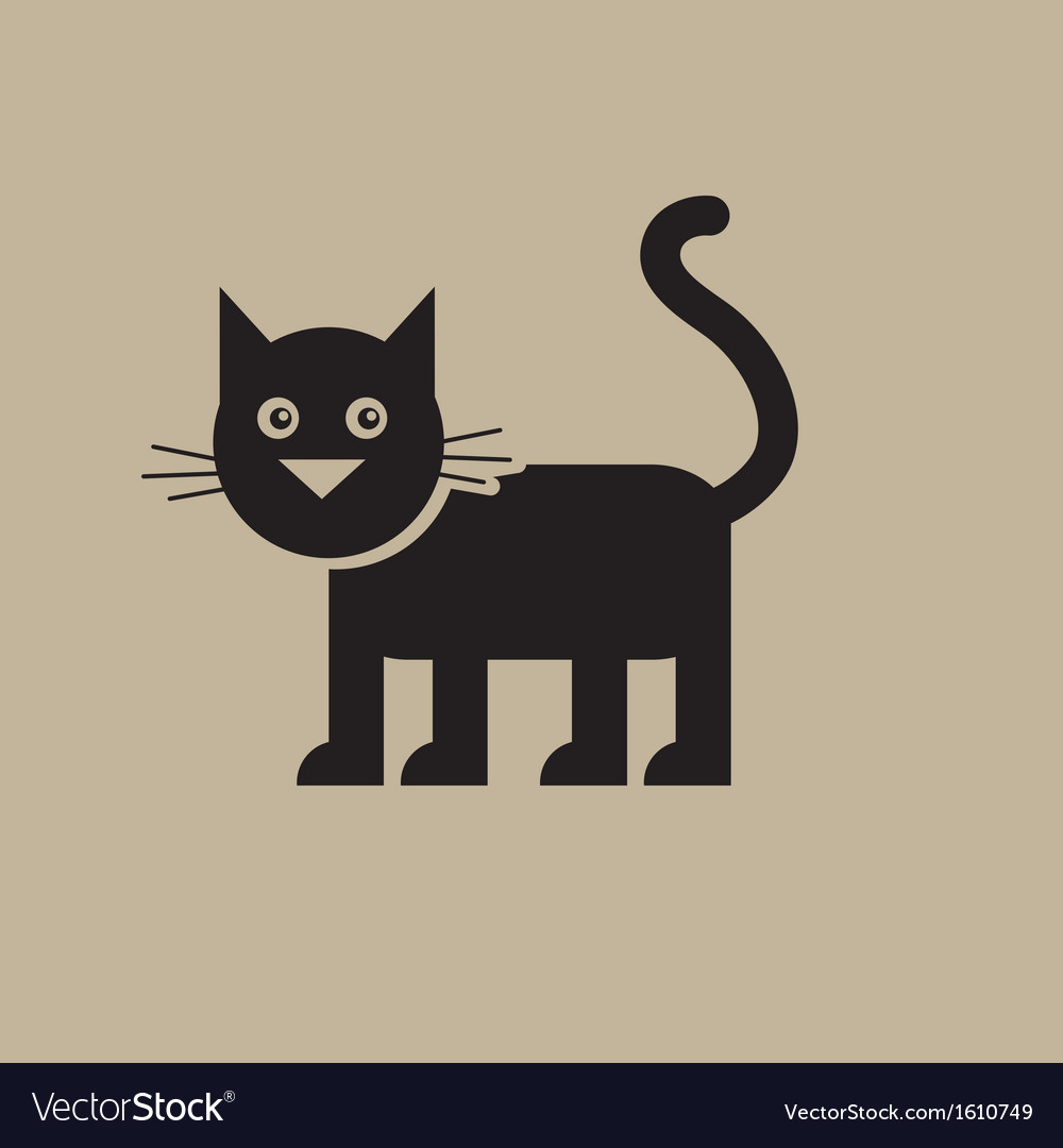 Flat black cat vector | Price: 1 Credit (USD $1)