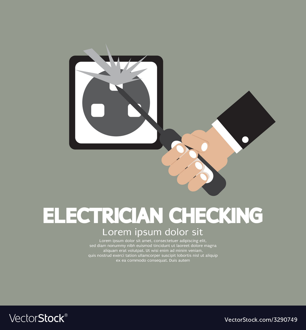 Flat design electrician checking vector | Price: 1 Credit (USD $1)