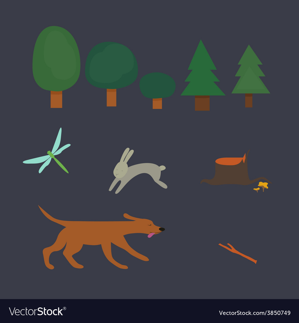 Forest set vector | Price: 1 Credit (USD $1)