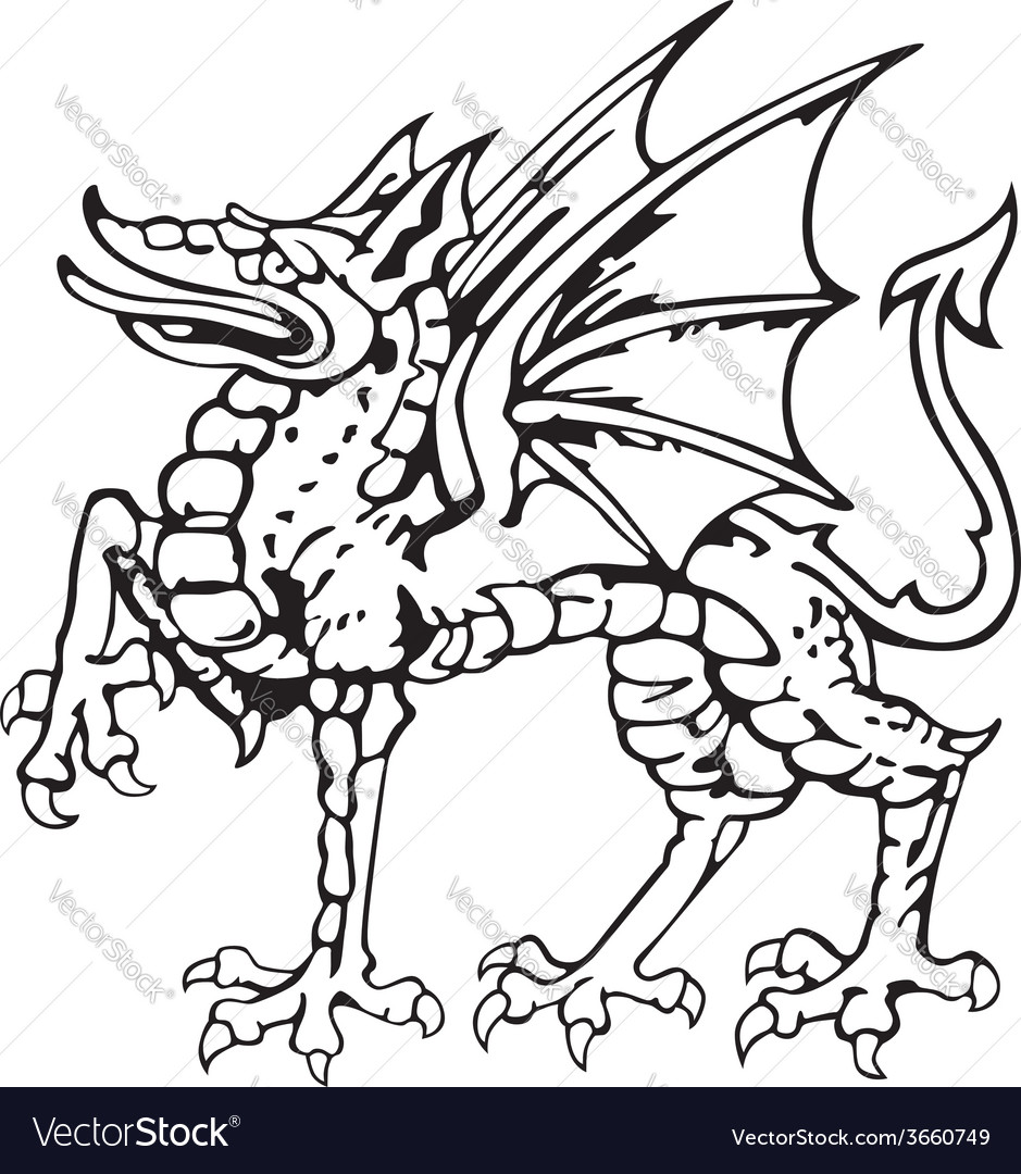 Heraldic dragon no5 vector | Price: 1 Credit (USD $1)