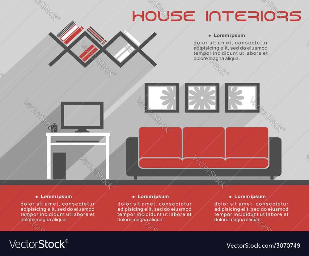 House interior design template vector | Price: 1 Credit (USD $1)