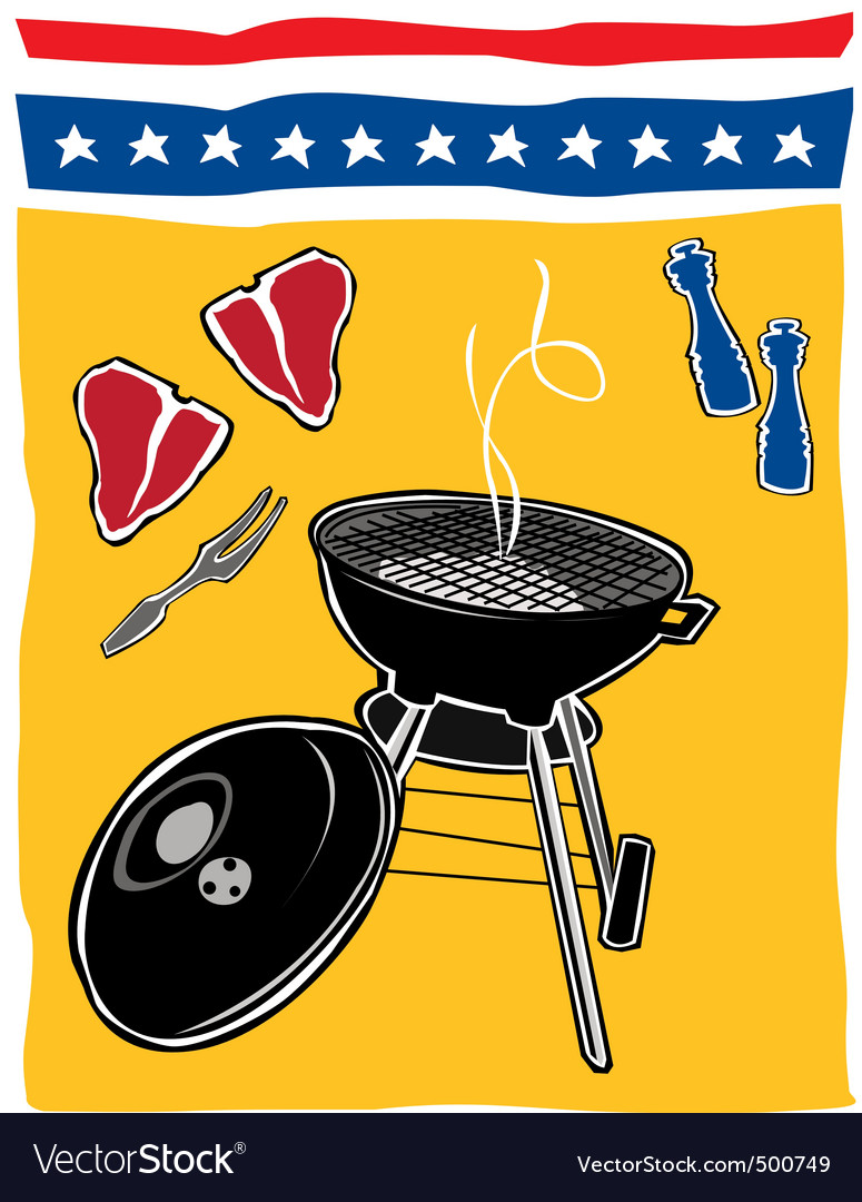 Retro backyard bbq scene vector | Price: 1 Credit (USD $1)