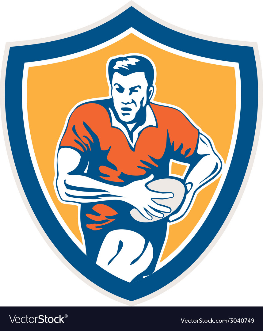 Rugby player running ball shield retro vector | Price: 1 Credit (USD $1)