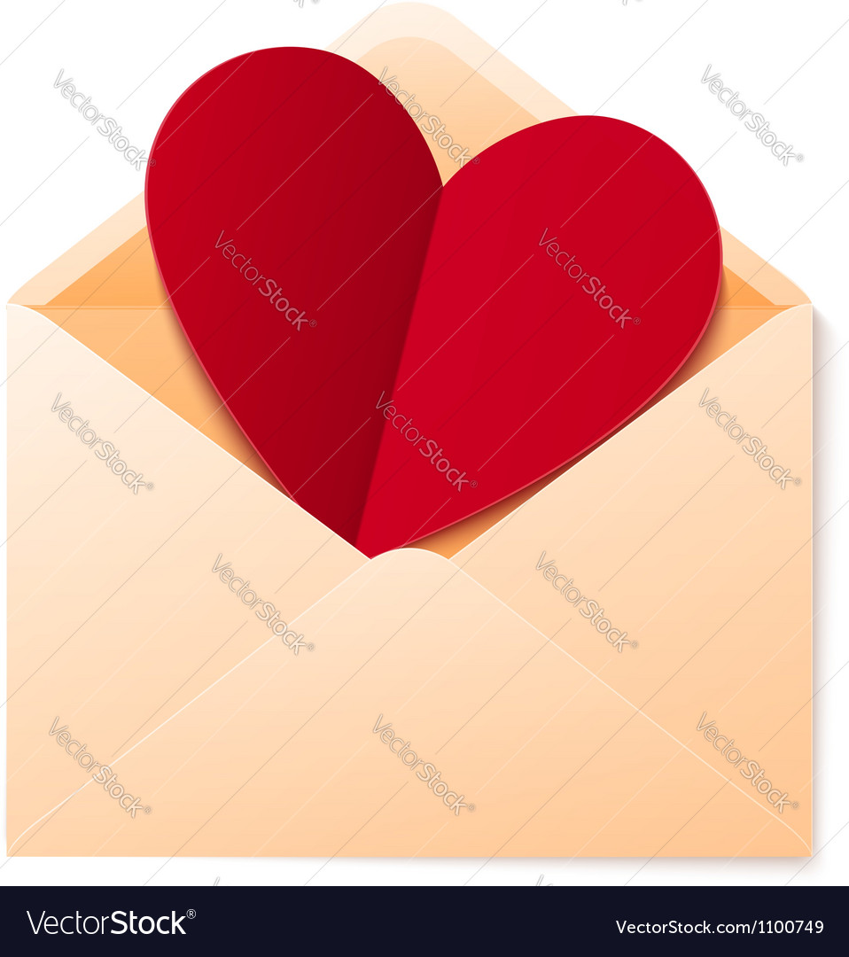 Simple envelope with red paper heart vector | Price: 1 Credit (USD $1)