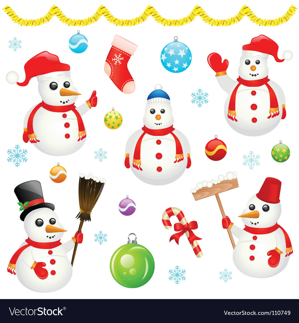 Snowman and christmas objects vector | Price: 1 Credit (USD $1)