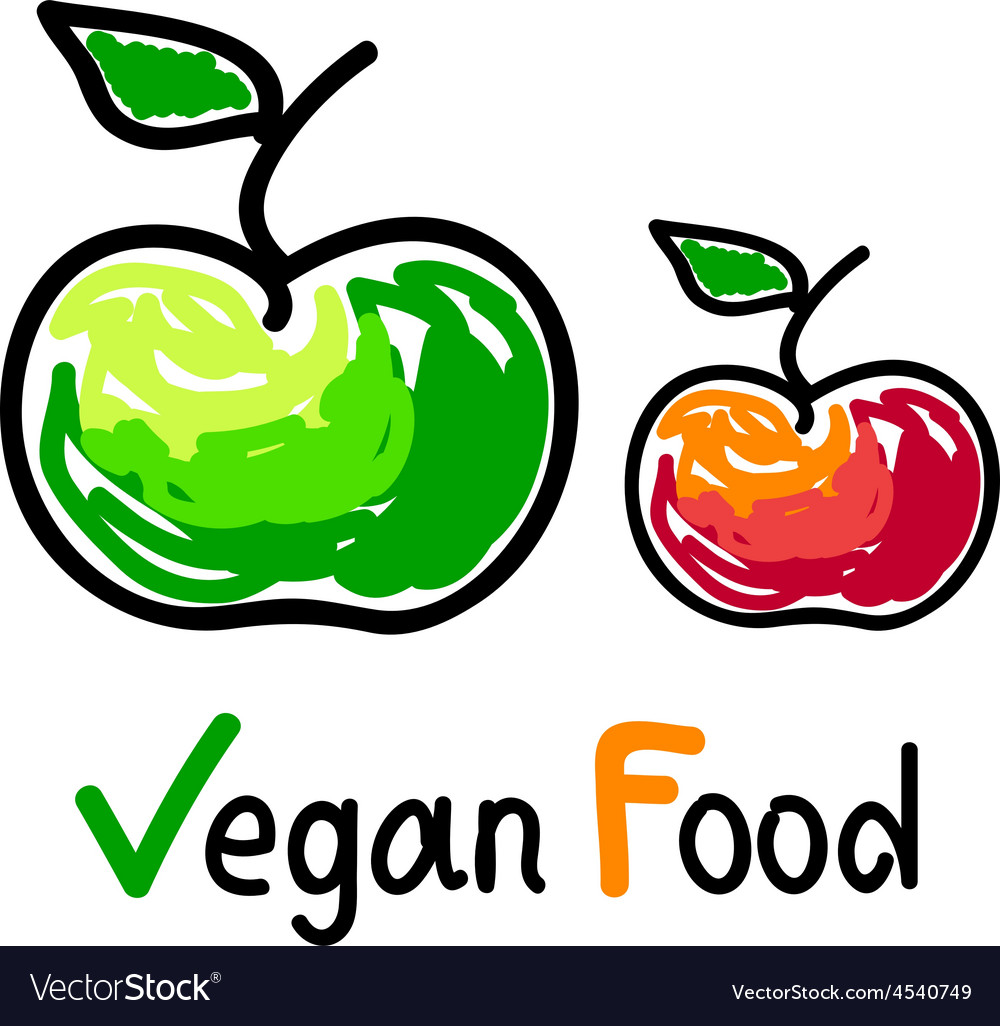 Vegan food emblem with green and red apple icons vector | Price: 1 Credit (USD $1)
