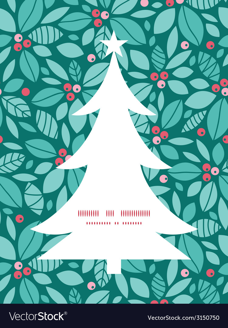 Christmas holly berries christmas tree silhouette vector | Price: 1 Credit (USD $1)