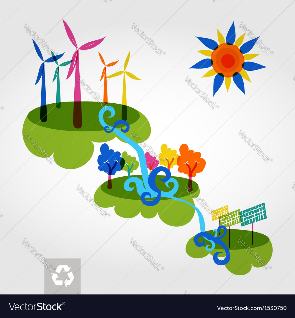 Go green city wind mills trees solar panels and vector | Price: 1 Credit (USD $1)
