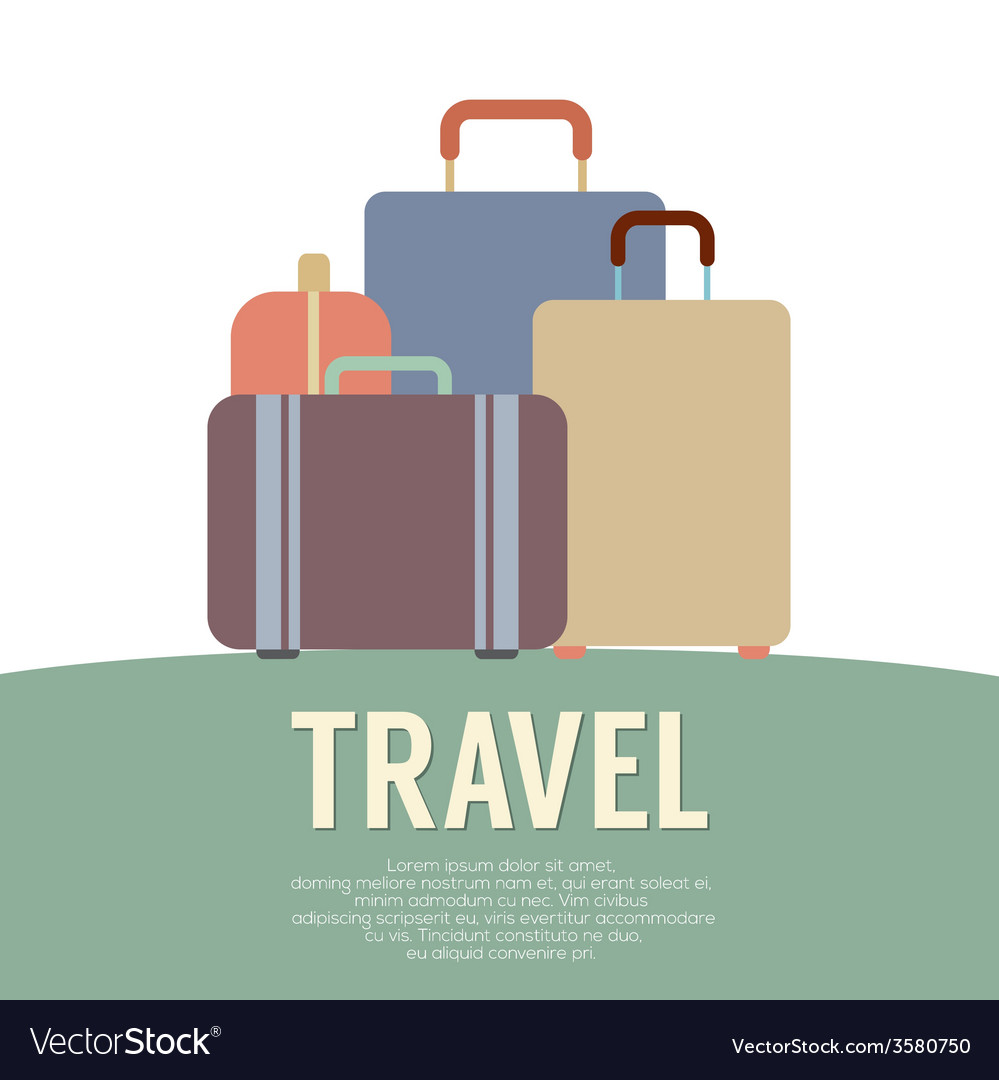 Many luggage travel concept vintage style vector | Price: 1 Credit (USD $1)