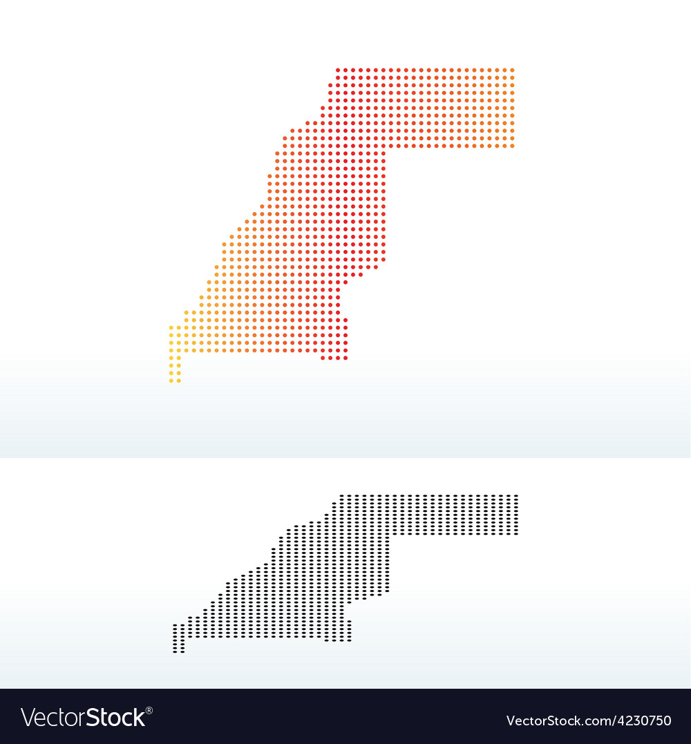 Map of western sahara with dot pattern vector | Price: 1 Credit (USD $1)