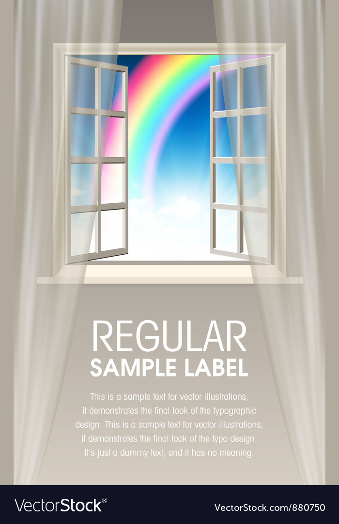 Opening window with rainbow and sky vector | Price: 1 Credit (USD $1)