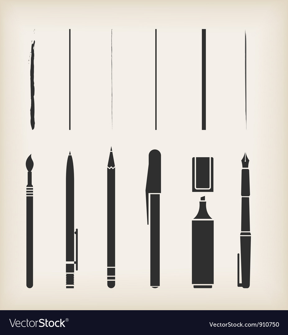 Pen pencil marker brush vector | Price: 1 Credit (USD $1)