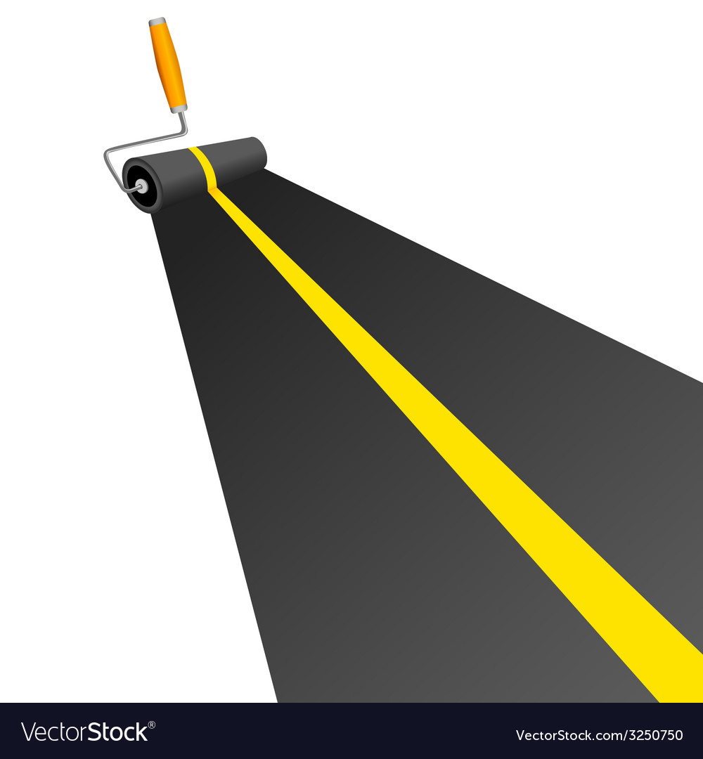 Roller painting road with yellow line vector | Price: 1 Credit (USD $1)