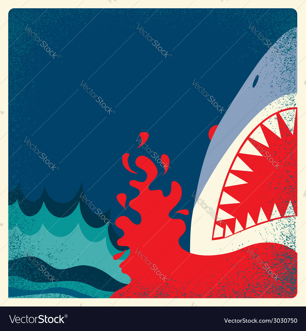 Shark jaws poster danger background vector | Price: 1 Credit (USD $1)