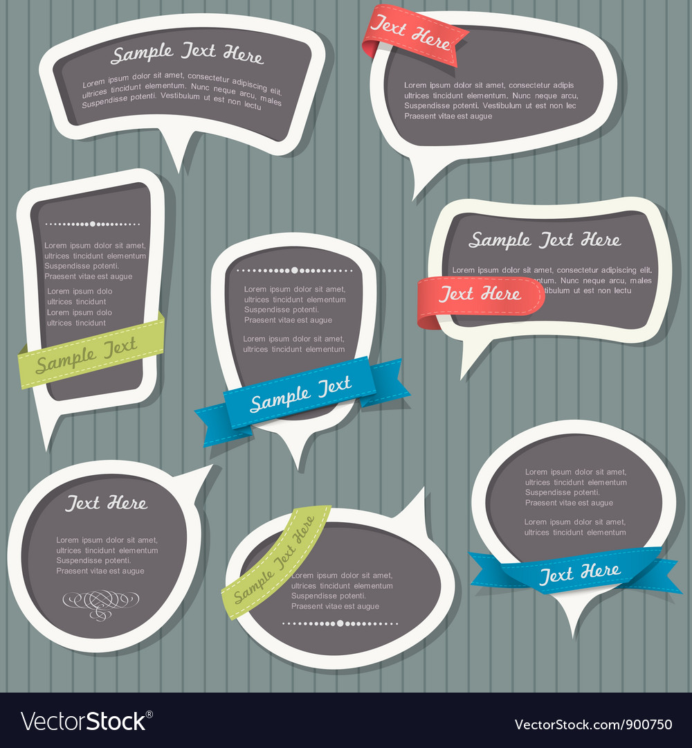Speech bubbles in vintage style vector | Price: 1 Credit (USD $1)