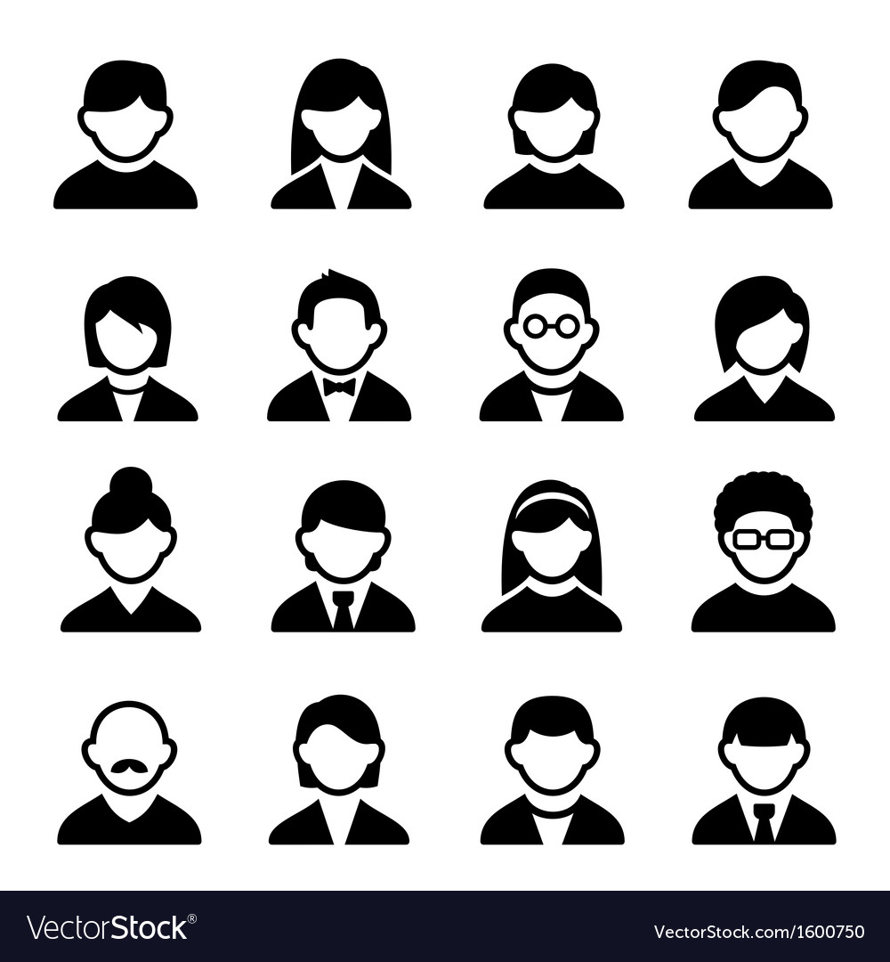 User icons set 1 vector | Price: 1 Credit (USD $1)