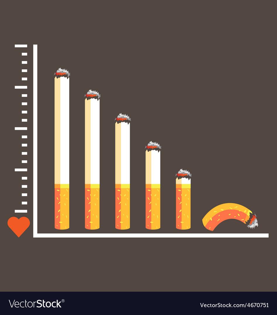 Cigarette graph concept for no smoking vector   Price: 1 Credit (USD $1)