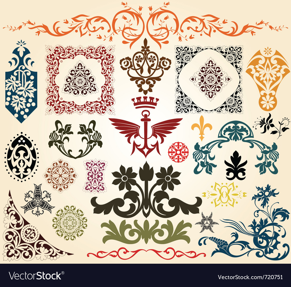 Floral heraldry elements vector | Price: 1 Credit (USD $1)