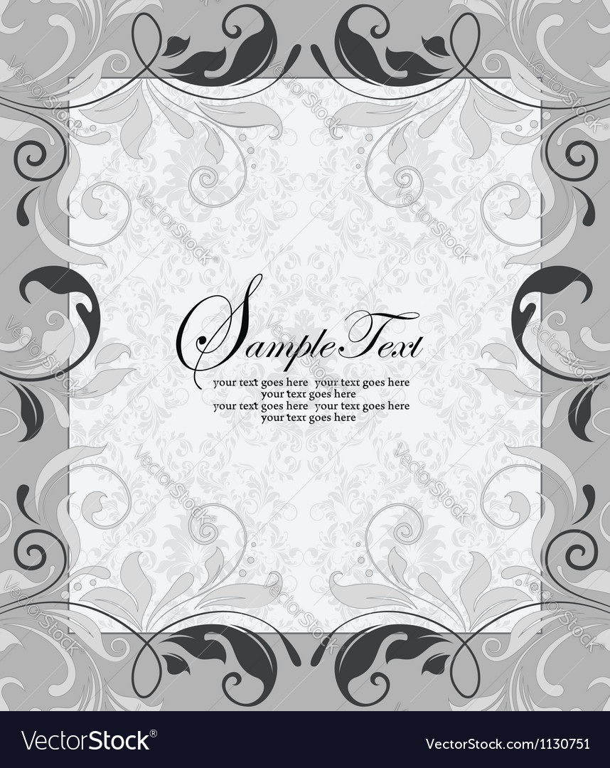 Gray invitation card with place for text vector | Price: 1 Credit (USD $1)
